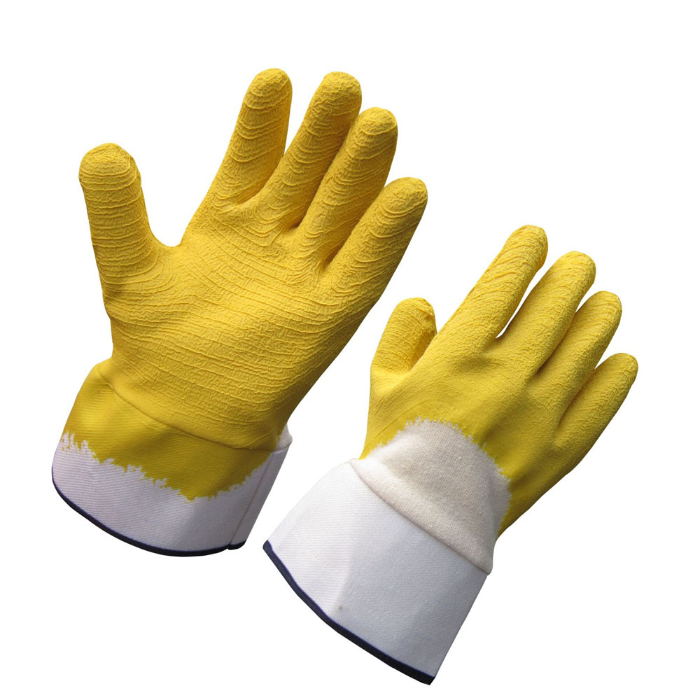 Foam Cotton Rough Latex Glove HCL406