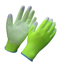 High visible yellow PU gloves with sensitive touch fingers HPU138