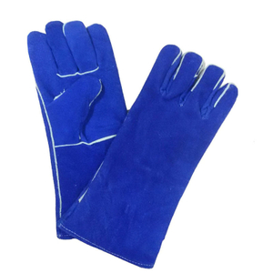Blue cow split leather welding glove HLW617