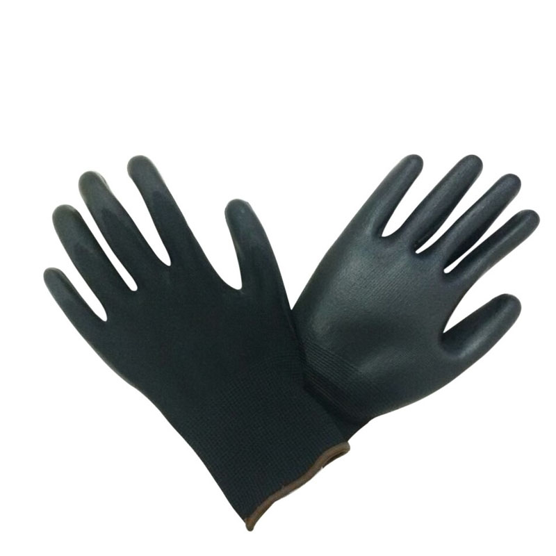 Polyurethane coated 13 gauge black PU gloves HPU125