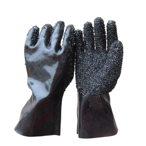 Black PVC glove with rough chips HPV904