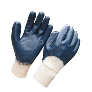 Half dipped blue nitrile safety gloves HCN410